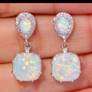 White fire opal CZ earrings